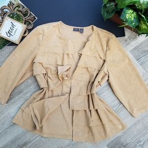 Chico's Tan Suede Tiered 3/4 Sleeve Open Cardigan